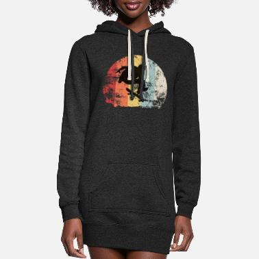 Boarders vintage retro skater skateboard - Women's Hoodie Dress