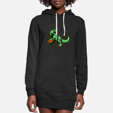 Primal Dinosaur Motif Lovers Gift Idea Design - Women's Hoodie Dress