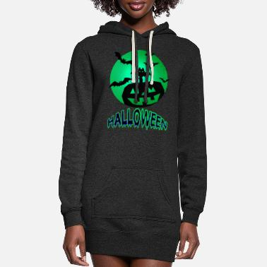 Wing Pumpkin With Bats On Halloween - Women's Hoodie Dress