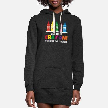 100 Days Of School Crayon Pun One Hundred Days of School Design - Women's Hoodie Dress