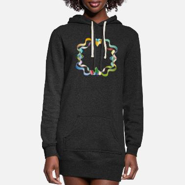 Brilliant empty frame made of colorful shimmering ribbons - Women's Hoodie Dress