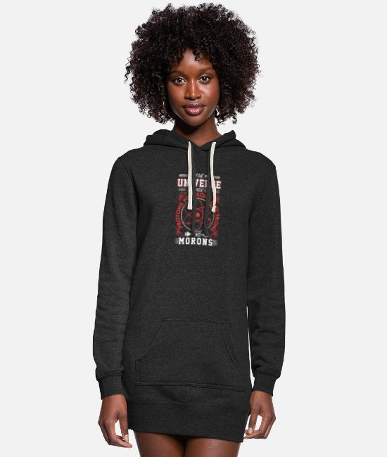Funny Hoodies & Sweatshirts - (Gift) The Universe is made of protons and morons - Women's Hoodie Dress heather black