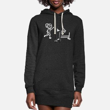 Agility Dog and Handler in Stick Figures - Women's Hoodie Dress