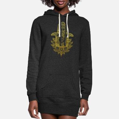 Buddhism Hamsa Hand Mandala with Om sign in gold design - Women's Hoodie Dress