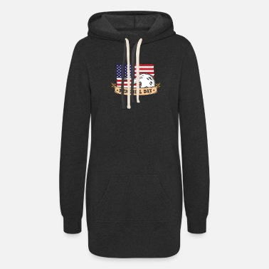 Memorial Day Memorial Day with Eagle and Flag - Women's Hoodie Dress