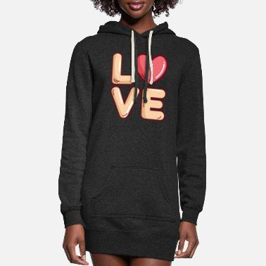 Wife Love Heart Cute Valentines Day - Women's Hoodie Dress