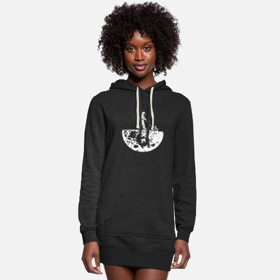 Moon Hoodies & Sweatshirts - Clean Up Moon - Astronout - Keep earth clean Gift - Women's Hoodie Dress heather black