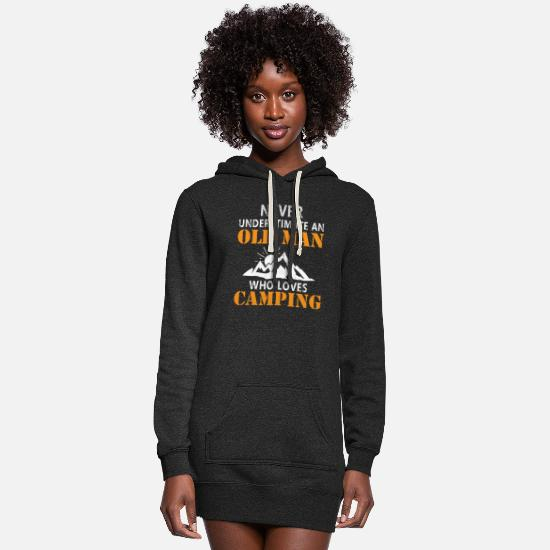 Guitar Hoodies & Sweatshirts - never underestimate an old man - Women's Hoodie Dress heather black