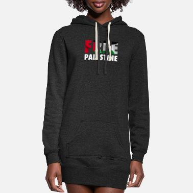 Map Free Palestine - The Palestinian Flag Graphic - Women's Hoodie Dress