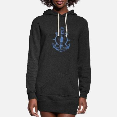 Anchor Blue Anchor With Oar - Women's Hoodie Dress