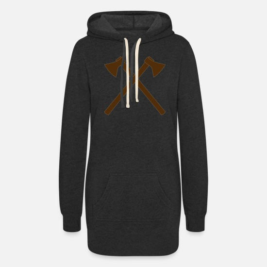 Gift Idea Hoodies & Sweatshirts - Crossed Axe - Firefighter Axe - Vector - Women's Hoodie Dress heather black