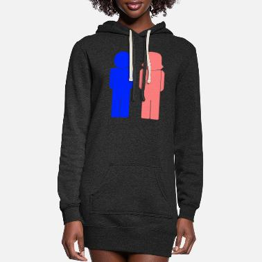 Female Male And Female Icons - Women's Hoodie Dress