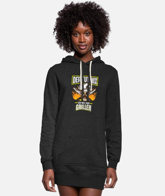 BBQ Hoodies & Sweatshirts - He won't do anything, he just wants a barbecue - Women's Hoodie Dress heather black