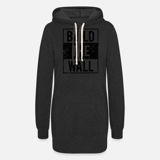 Wall Hoodies & Sweatshirts - Build The Wall Design - Women's Hoodie Dress heather black