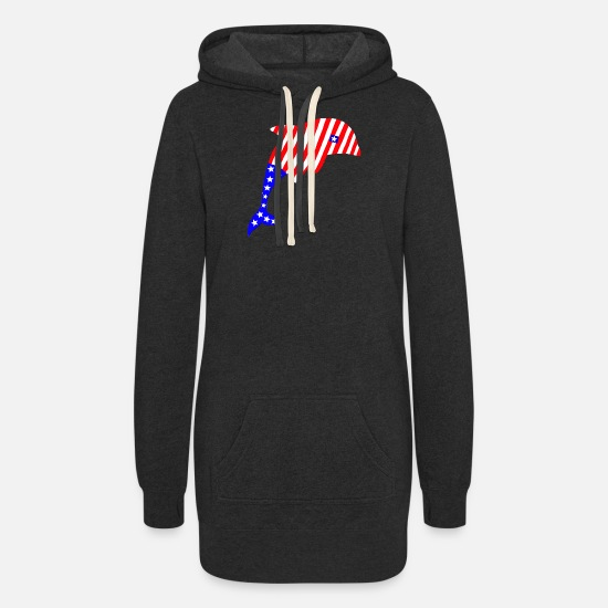 "American Hoodies & Sweatshirts - ""Dolphin America"" - Women's Hoodie Dress heather black"