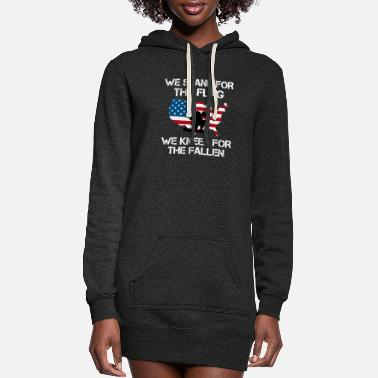 Stand We Stand For The Flag, We Kneel For the Fallen - Women's Hoodie Dress