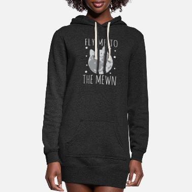 Fly Fly Me To The Mewn Funny Moon Cat - Women's Hoodie Dress