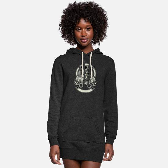 Skull Hoodies & Sweatshirts - Skull skull with helmet - Women's Hoodie Dress heather black