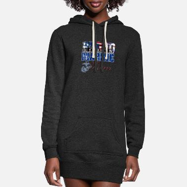 Marine Proud Marine Mom - Women's Hoodie Dress