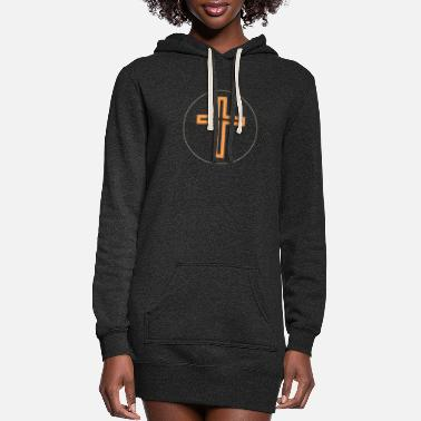 Cross Long Orange-White S - Women's Hoodie Dress