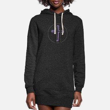 Cross Long Purple-White S - Women's Hoodie Dress
