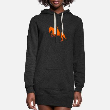 New Year Horse Riding Girl Silhouette Gift Idea - Women's Hoodie Dress