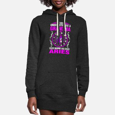 Age Never Underestimate A Grandma Born As Aries - Women's Hoodie Dress