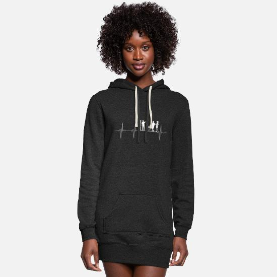 Pulse Hoodies & Sweatshirts - EKG Herzschlag Heartbeat BBQ Grill Party - Women's Hoodie Dress heather black