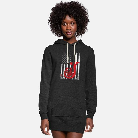 United States Hoodies & Sweatshirts - American French Horn Player Patriotic Hornist - Women's Hoodie Dress heather black