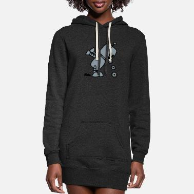Robot Puking Robot - Women's Hoodie Dress
