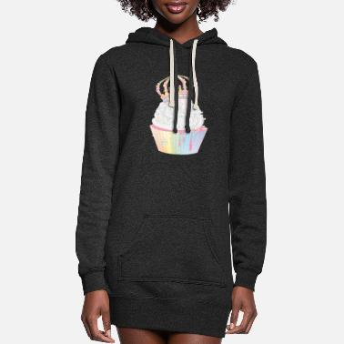 Frost sugary cupcake with candy crown - Women's Hoodie Dress