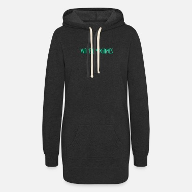 Green Text WavejumpGames (Bluish-Green Text) - Women's Hoodie Dress