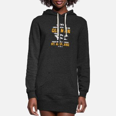 Jet Never Underestimate An Old Man With An RC Airplane - Women's Hoodie Dress