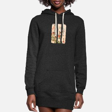 Cherry Utagawa Hiroshige Swallows and Bellflowers - Women's Hoodie Dress
