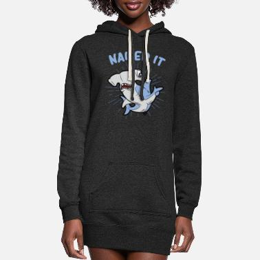 Cartoon Shark NAILED IT funny hammerhead shark Humor - Women's Hoodie Dress
