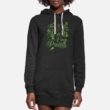 Calm Keep calm plants have protein - vegan muscle - Women's Hoodie Dress