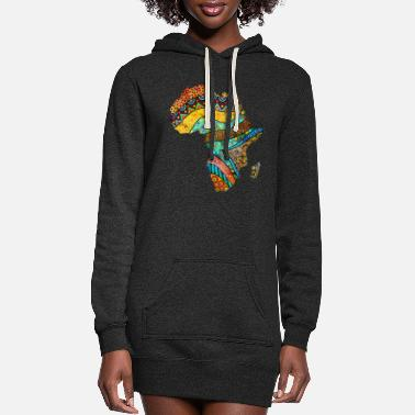 Artist Africa Map in Traditional Ethnic African Pattern - Women's Hoodie Dress