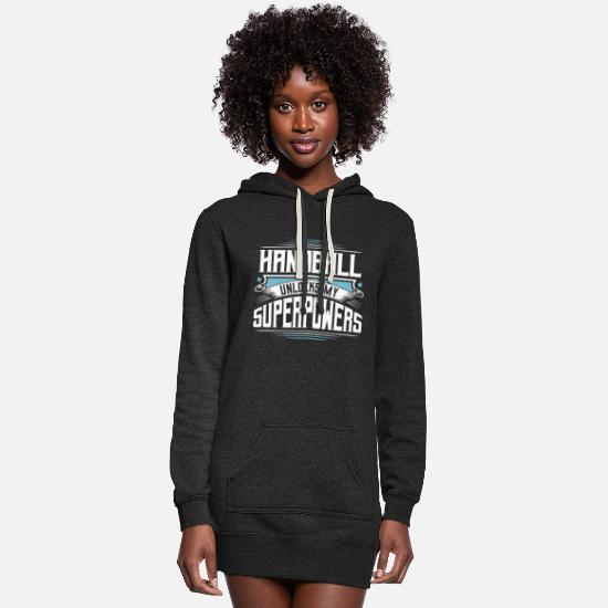 Love Hoodies & Sweatshirts - Cool Funny Awesome Handball Unlocks My Superpowers - Women's Hoodie Dress heather black