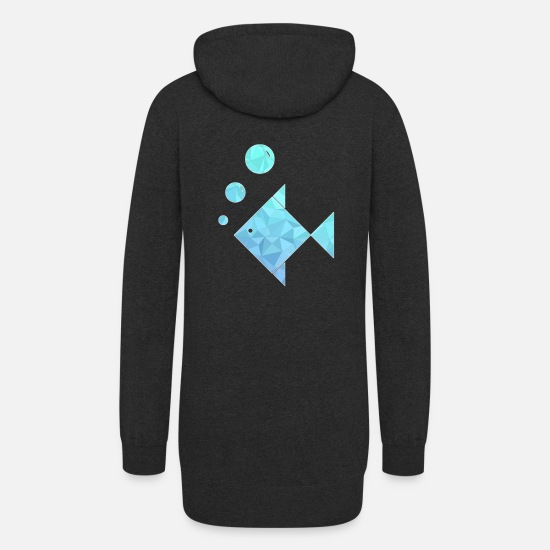 Trout Pond Hoodies & Sweatshirts - Geometric Fish Bubbles Geometry Aquarium - Women's Hoodie Dress heather black