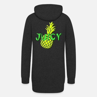 Green Text juicy, bright yellow pineapple and neon green text - Women's Hoodie Dress