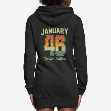 Production Year Vintage 75th Birthday January 1946 Sports Gift - Women's Hoodie Dress