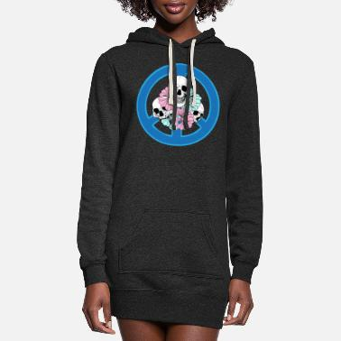 Spooky Hippie Skulls And Flowers Peace Sign Hippie Tattoo - Women's Hoodie Dress