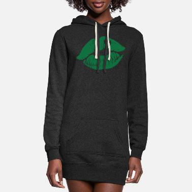 Shamrock Lips with Shamrock - St. Patrick's Day - Women's Hoodie Dress