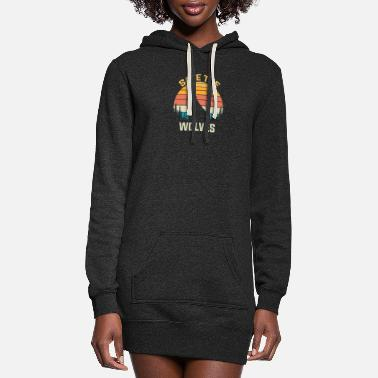 Save The Wolves Animal Rights Activist Gift Wolf - Women's Hoodie Dress