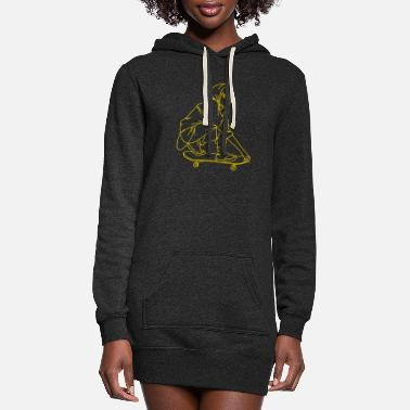 Ski Skateboard on Cool T-Shirt for the Ski Lovers. - Women's Hoodie Dress