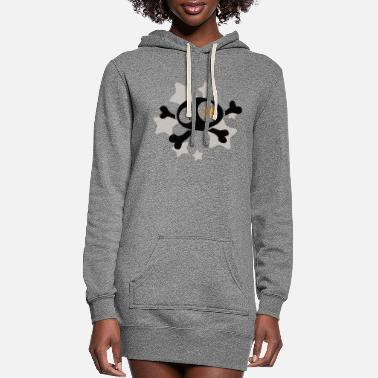 Asterisk Skull with asterisks - Women's Hoodie Dress