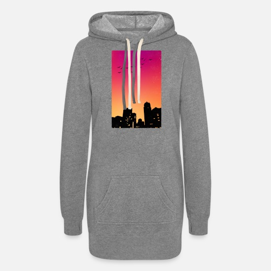 City Hoodies & Sweatshirts - Colorful Sky w/ Birds and Buildings Silhouette - Women's Hoodie Dress heather gray