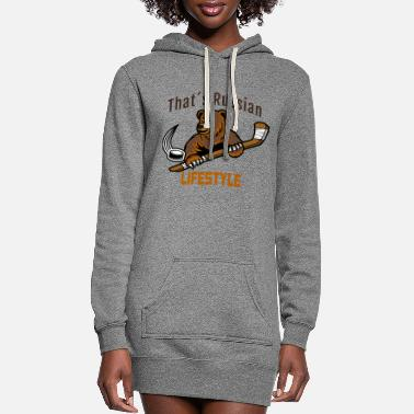 Russian Lifestyle Icehockey Hockey Bear - Women's Hoodie Dress