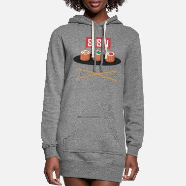 Japanese Sushi and Chopsticks - Women's Hoodie Dress