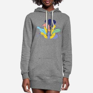 Girl Beautiful girl cartoon illustration - Women's Hoodie Dress
